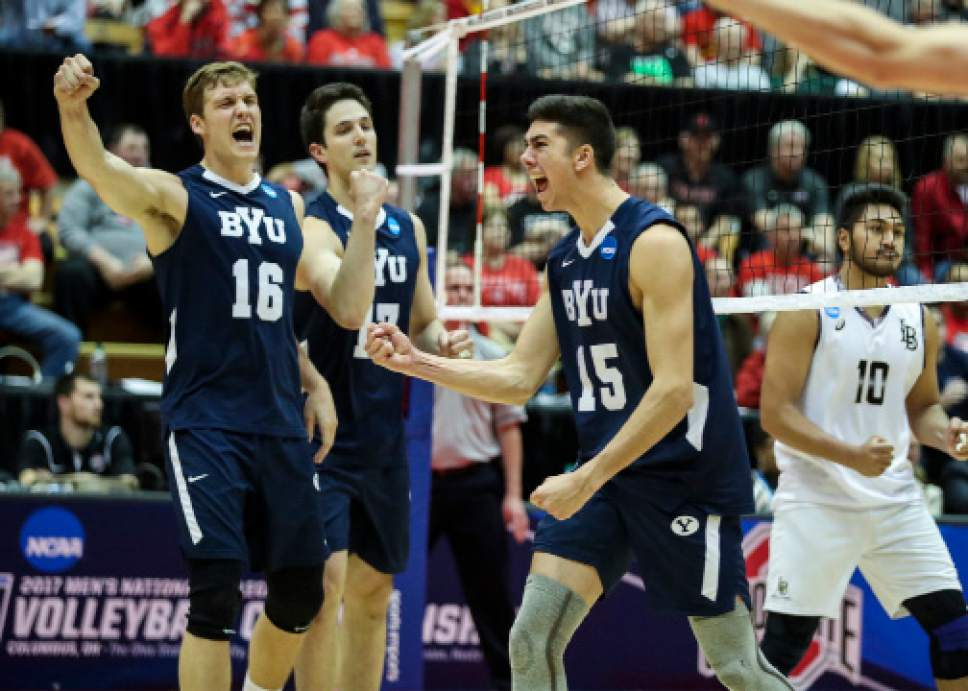 |  BYU Photo  BYU's Tim Dobbert (16) and Brenden Sander (15) celebrate a point against Long Beach State during the NCAA Championships May 4, 2017 in Columbus Ohio. The Cougars swept the 49ers to advance to the National Championship game on Saturday.