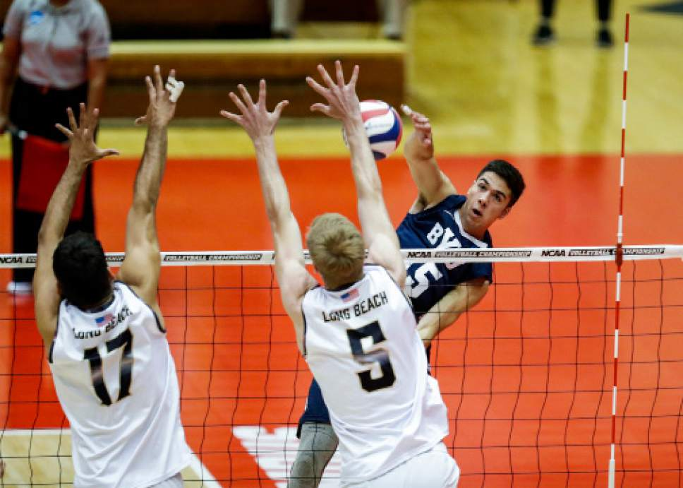 |  BYU Photo  BYU's Brenden Sander in action against Long Beach State during the NCAA Championships May 4, 2017 in Columbus Ohio. The Cougars swept the 49ers to advance to the National Championship game on Saturday.