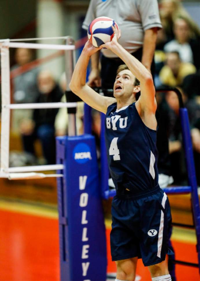 |  BYU Photo  BYU's Leo Durkin in action against Long Beach State during the NCAA Championships May 4, 2017 in Columbus Ohio. The Cougars swept the 49ers to advance to the National Championship game on Saturday.