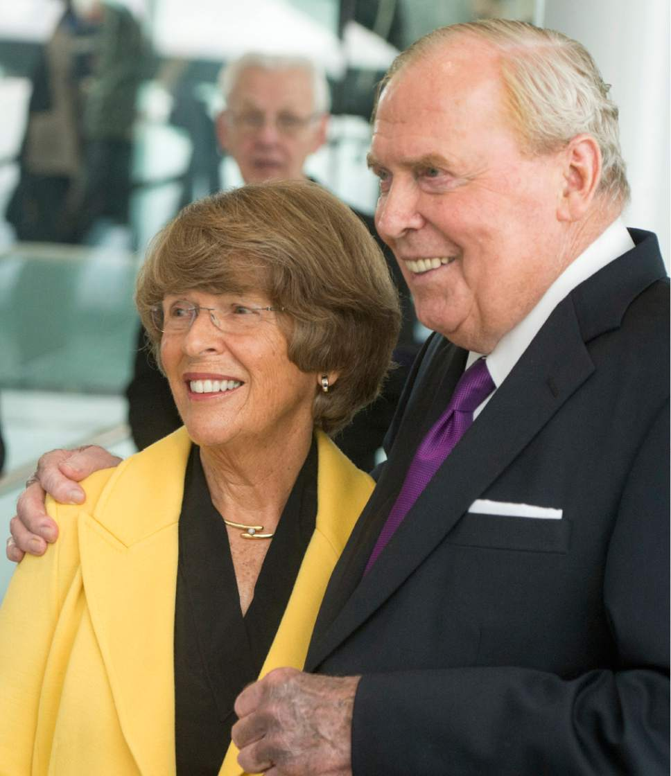 Rick Egan  |  The Salt Lake Tribune  Jon & Karen Huntsman gathers together for photos, as they celebrate the new $50 Million building in the Jon M. Huntsman School of Business, Wednesday, March 16, 2016.