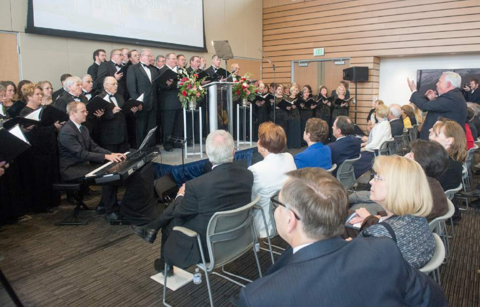 Rick Egan  |  The Salt Lake Tribune   American Festival Chorus performs at the Grand Opening of the John M. Huntsman Hall, the new $50 Million building in the Jon M. Huntsman School of Business, Wednesday, March 16, 2016.