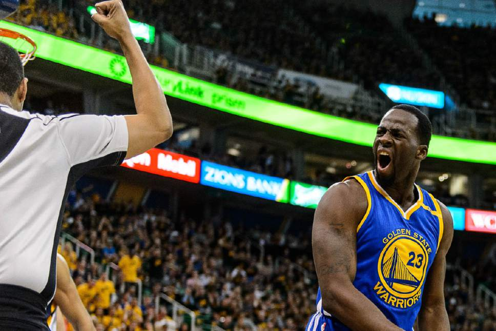 Trent Nelson  |  The Salt Lake Tribune Golden State Warriors forward Draymond Green (23) reacts to his second foul as the Utah Jazz host the Golden State Warriors in Game 3 of the second round, NBA playoff basketball in Salt Lake City, Saturday May 6, 2017.