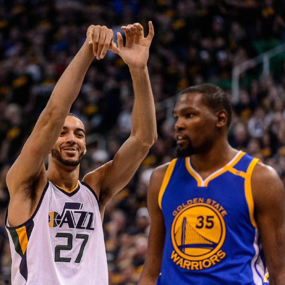Trent Nelson  |  The Salt Lake Tribune Utah Jazz center Rudy Gobert (27) smiles in the direction of Golden State Warriors forward Kevin Durant (35) after missing two free throws from Durant's hard foul in the fourth quarter, as the Utah Jazz host the Golden State Warriors in Game 3 of the second round, NBA playoff basketball in Salt Lake City, Saturday May 6, 2017.