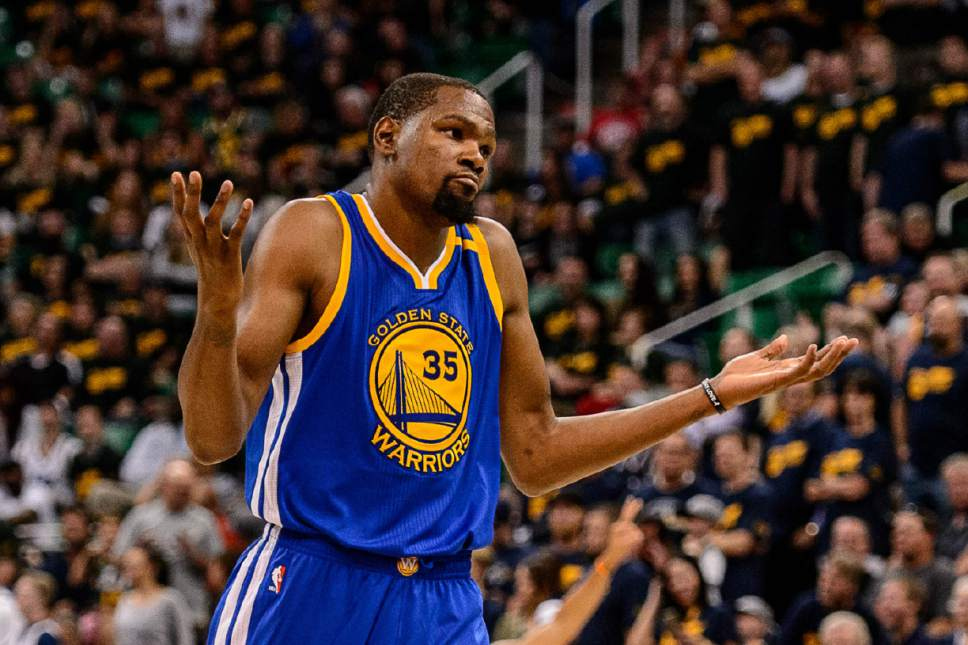 Trent Nelson  |  The Salt Lake Tribune Golden State Warriors forward Kevin Durant (35) gestures after hitting the second of two three-pointers in the fourth quarter as the Utah Jazz host the Golden State Warriors in Game 3 of the second round, NBA playoff basketball in Salt Lake City, Saturday May 6, 2017.