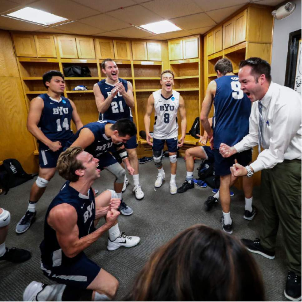 |  BYU Photo  The BYU men's volleyball team celebrates their win over Long Beach State in the locker room on May 4, 2017 in Columbus Ohio. The Cougars swept the 49ers to advance to the NCAA National Championship game on Saturday.