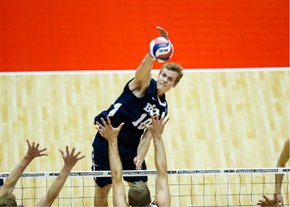 |  BYU Photo  BYU's Jake Langlois in action against Long Beach State during the NCAA Championships May 4, 2017 in Columbus Ohio. The Cougars swept the 49ers to advance to the National Championship game on Saturday.