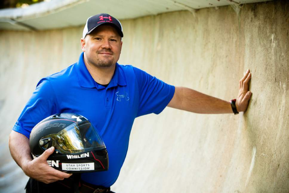 5 September, 2013; World Champion Bobsled Driver Steven Holcomb poses at the Olympic Sports Complex Bobsled track near Lake Placid, N.Y. (Photo/Todd  Bissonette)
