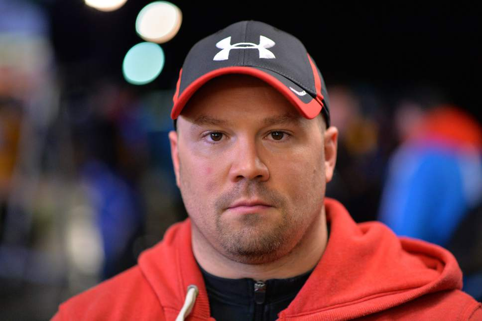 In this picture taken Saturday, Jan. 18, 2014, bob racer Steven Holcomb of the United States poses for a photograph after the two-men bob race at the Bob World Cup in Innsbruck, Austria. (AP Photo/Kerstin Joensson)