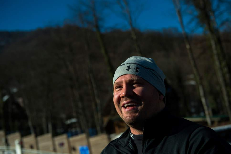 RZHANAYA POLYANA, RUSSIA  - JANUARY 6: Bobsled athlete Steven Holcomb talks to members of the media after a practice run at the Sanki Sliding Center before the start of the 2014 Sochi Olympics Thursday February 6, 2014. (Photo by Chris Detrick/The Salt Lake Tribune)