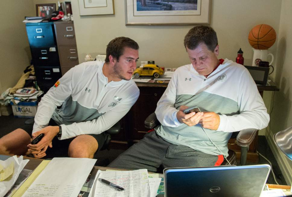 Leah Hogsten  |  The Salt Lake Tribune  Sports agent Greg Phillips, who represents University of Utah long snapper Chase Dominguez, negotiates his NFL contract, Saturday, April 29, 2017 as an undrafted free agents with the New Orleans Saints.