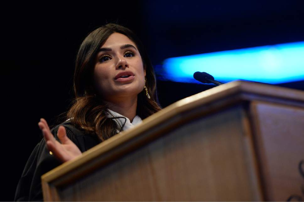 """Francisco Kjolseth   The Salt Lake Tribune Salt Lake Community College hosts their graduation ceremonies at the Maverik Center with guest speaker Diane Guerrero, an actress and activist. Guerrero has subsequently appeared on numerous television series and is best known for her roles as """"Maritza Ramos"""" on the award-winning, Emmy- and Golden Globe-nominated Netflix series Orange is the New Black."""