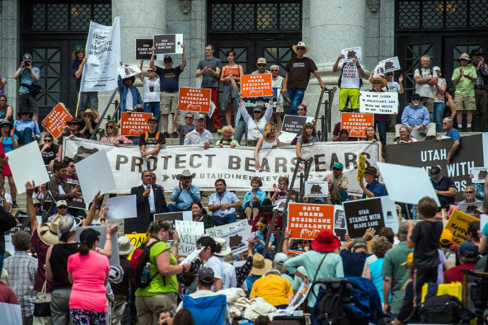 Chris Detrick  |  The Salt Lake Tribune Hundreds of people gather during the Monumental Rally for Bears Ears and Grand Staircase Monuments at the Utah State Capitol Saturday, May 6, 2017.