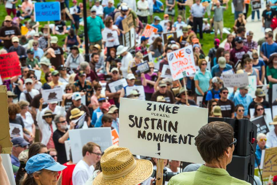 Chris Detrick     The Salt Lake Tribune Hundreds of people gather during the Monumental Rally for Bears Ears and Grand Staircase Monuments at the Utah State Capitol Saturday, May 6, 2017.