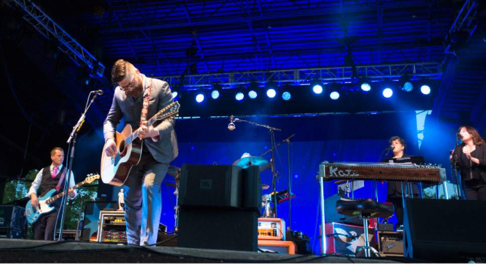 Steve Griffin  |  The Salt Lake Tribune   The Decemberists perform at the Red Butte Garden Amphitheatre in Salt Lake City, Tuesday, May 26, 2015.