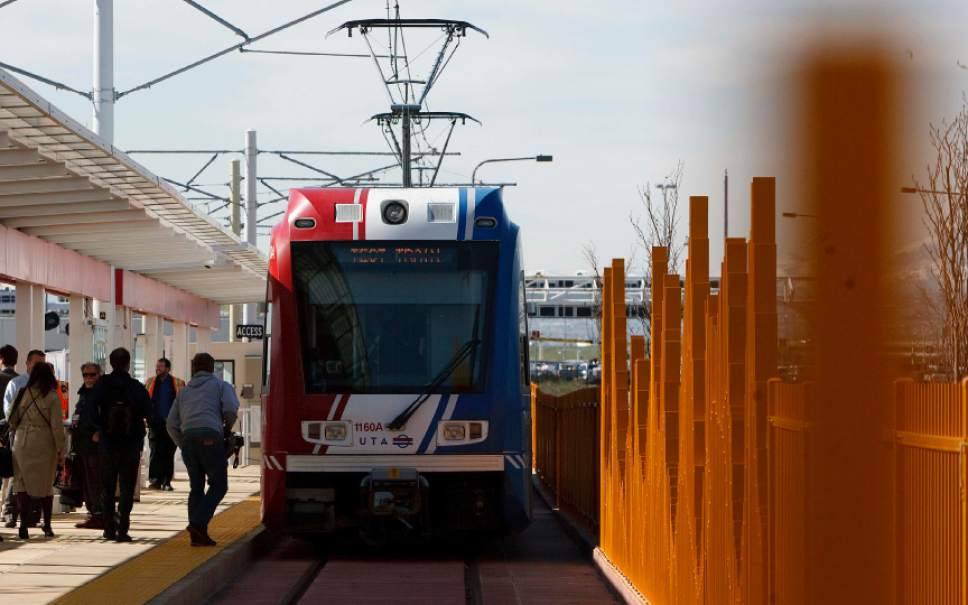 Leah Hogsten  |  Tribune file photo Expansion of TRAX west of Salt Lake City International Airport to the International Center, and to Utah County are among plans that would be side-tracked if UTA doesn't get a tax increase, says the agency's president and CEO.