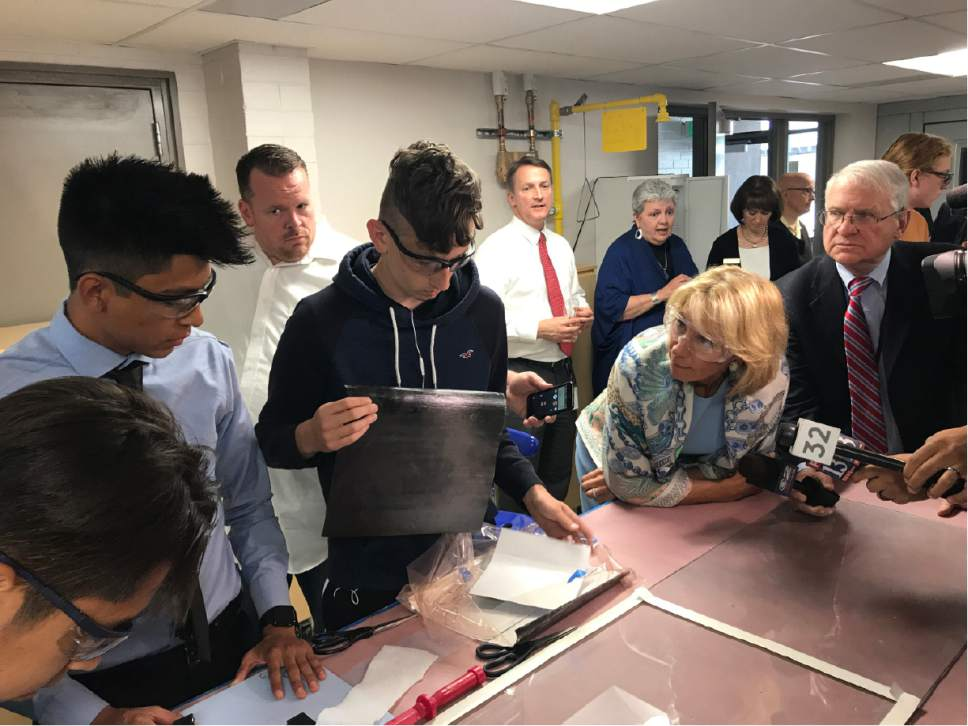 Benjamin Wood  |  The Salt Lake Tribune  Education Secretary Betsy DeVos visits Granite Technical Institute in Salt Lake City on Tuesday ahead of her speech at a major education technology conference.