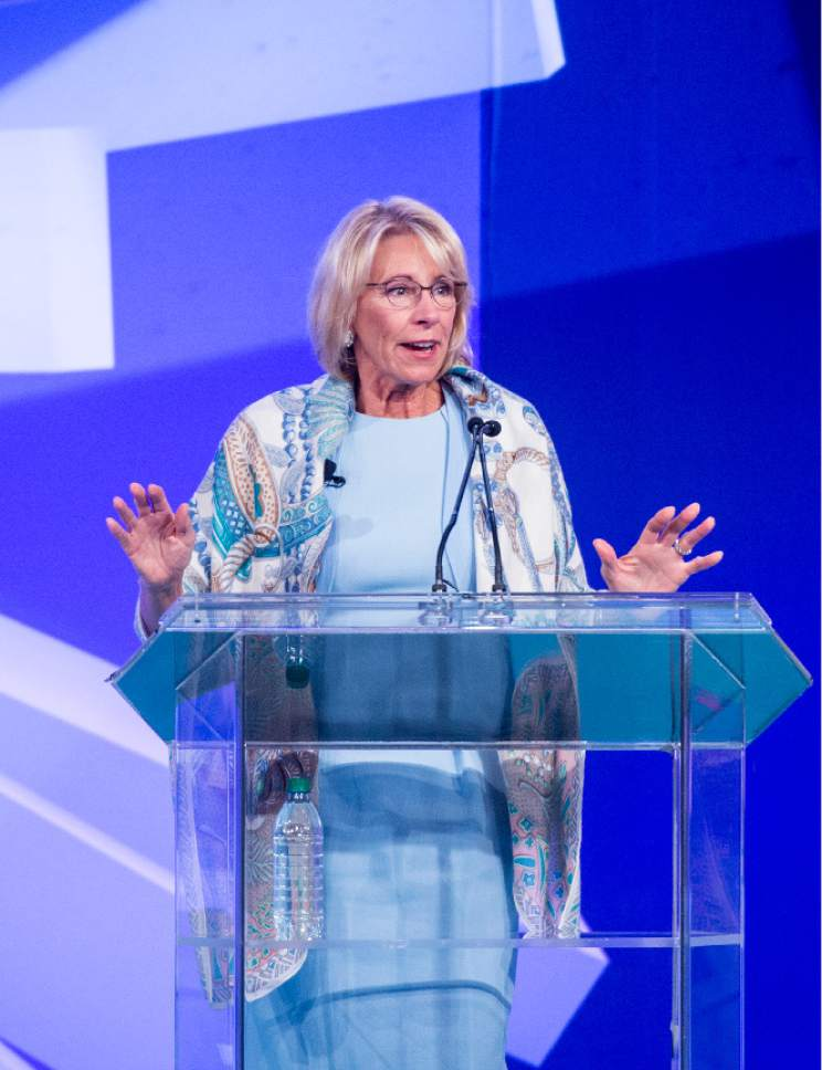 "Leah Hogsten  |  The Salt Lake Tribune  ""Itís time for us to break out of the confines of the federal governmentís arcane approach to education"" said U. S. Department of Education Secretary Betsy DeVos to the crowd at the ASU + GSV Summit at the Grand America Hotel, Tuesday, May 9, 2017."