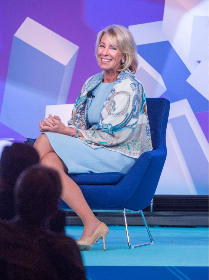 "Leah Hogsten  |  The Salt Lake Tribune  ""It's time for us to break out of the confines of the federal government's arcane approach to education"" said U. S. Department of Education Secretary Betsy DeVos to the crowd at the ASU + GSV Summit at the Grand America Hotel, Tuesday, May 9, 2017."