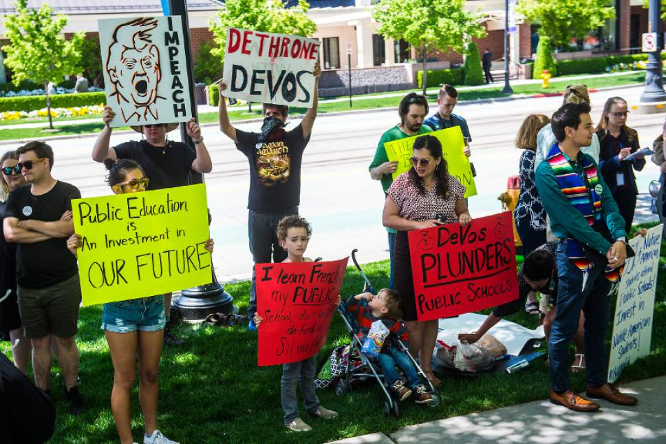 Chris Detrick  |  The Salt Lake Tribune Protestors demonstrate during the keynote address of Education Secretary Betsy DeVos at the ASU + GSV summit outside of the The Grand America Hotel in Salt Lake City Tuesday, May 9, 2017.
