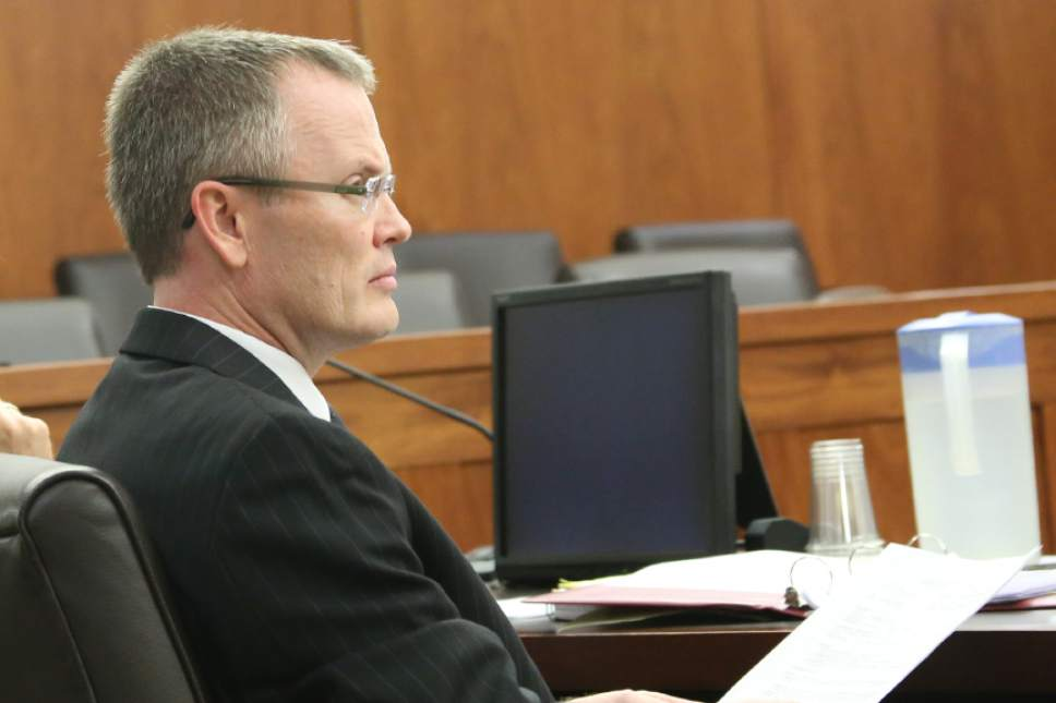 Kevin Jenkins  |  Pool Photo Washington County Attorney Brock Belnap listens to defense arguments in the aggravated murder trial of Brandon Perry Smith on Thursday Feb. 9, 2017 in 5th District Court.