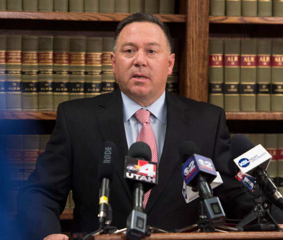 Steve Griffin  |  The Salt Lake Tribune | File photo   Utah County Attorney Jeffrey Buhman addresses a news conference in Provo in November 2014.
