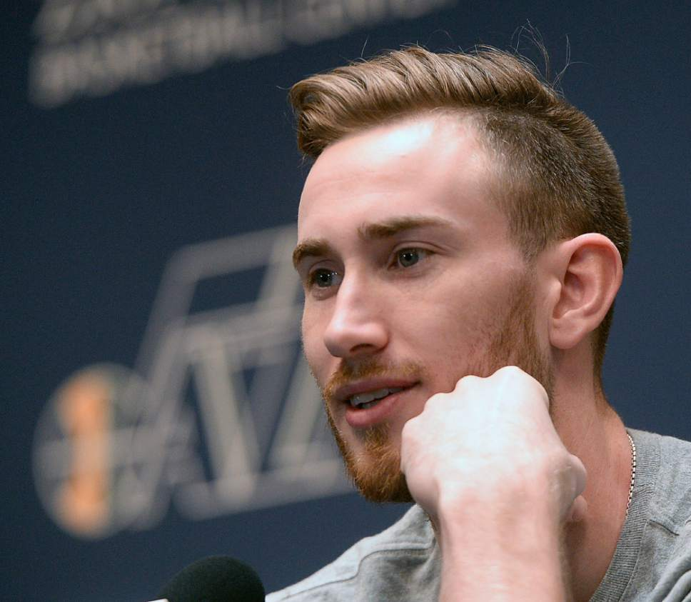 Al Hartmann  |  The Salt Lake Tribune Jazz player Gordon Hayward answers question on the season during exit interview with the sports media in Salt Lake City Tuesday May 9.  The team cleaned out their lockers after their loss to the Golden State Warriors last night.