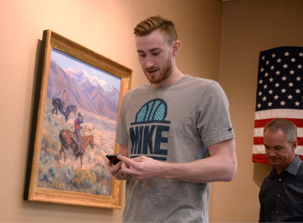 Al Hartmann  |  The Salt Lake Tribune Jazz player Gordan Hayward checks his phone before exit interview with the sports media in Salt Lake City Tuesday May 9.  The team cleaned out their lockers after their loss to the Golden State Warriors last night.