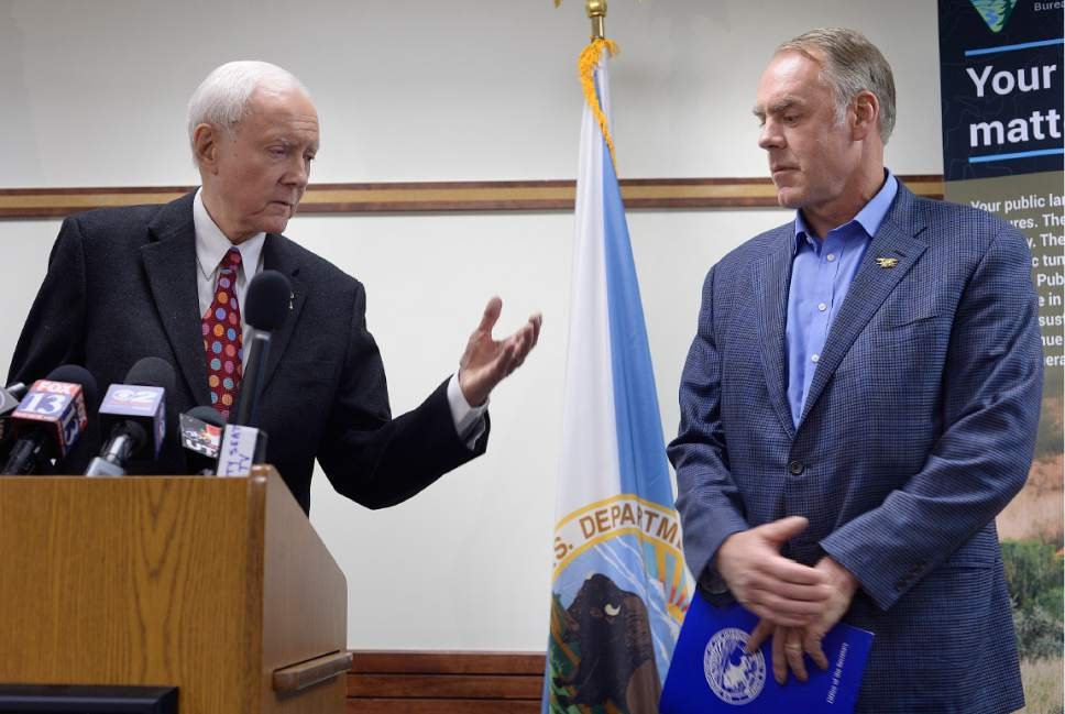 Scott Sommerdorf | The Salt Lake Tribune Senator Orrin Hatch, R-Utah, introduces Secretary of the Interior Ryan Zinke, who spoke at a brief press conference after having met with members of the Bears Ears Commission Sunday at the Bureau of Land Management office at the Gateway in Salt Lake City, Sunday, May 7, 2017.