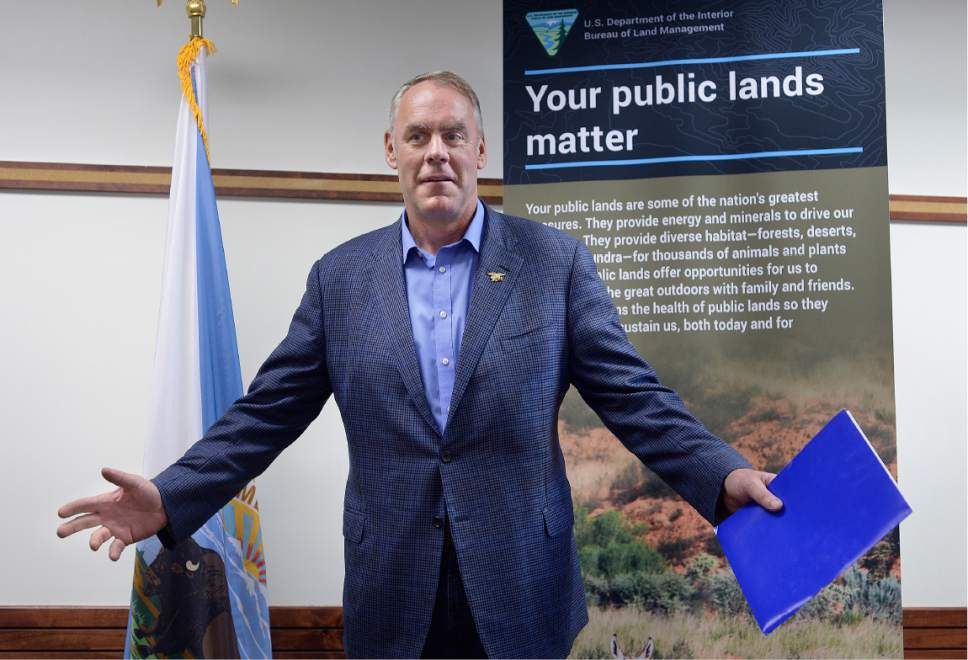 Scott Sommerdorf | The Salt Lake Tribune Secretary of the Interior Ryan Zinke greets the media in attendance at a brief press conference after having met with members of the Bears Ears Commission Sunday at the Bureau of Land Management office at the Gateway in Salt Lake City, Sunday, May 7, 2017.