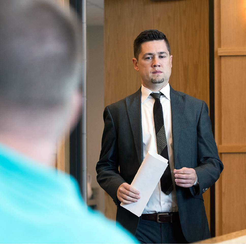 Eli Lucero  |  The Herald Journal Prosecuting attorney Spencer Walsh appears in 1st District Juvenille Court on Monday in Logan. Judge Angela F. Fonnesbeck ruled that one of the teens charged with attempted murder in the shooting of Deserae Turner will be bound over to the adult court.
