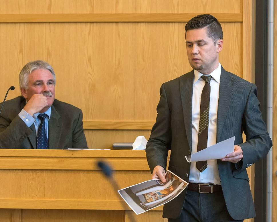 Eli Lucero  |  The Herald Journal Prosecuting attorney Spencer Walsh cross examines Dr. Matthew Davies during a hearing to determine if a teen charged with attempted murder in the shooting of Deserae Turner will be bound over to the adult court on Monday in Logan.