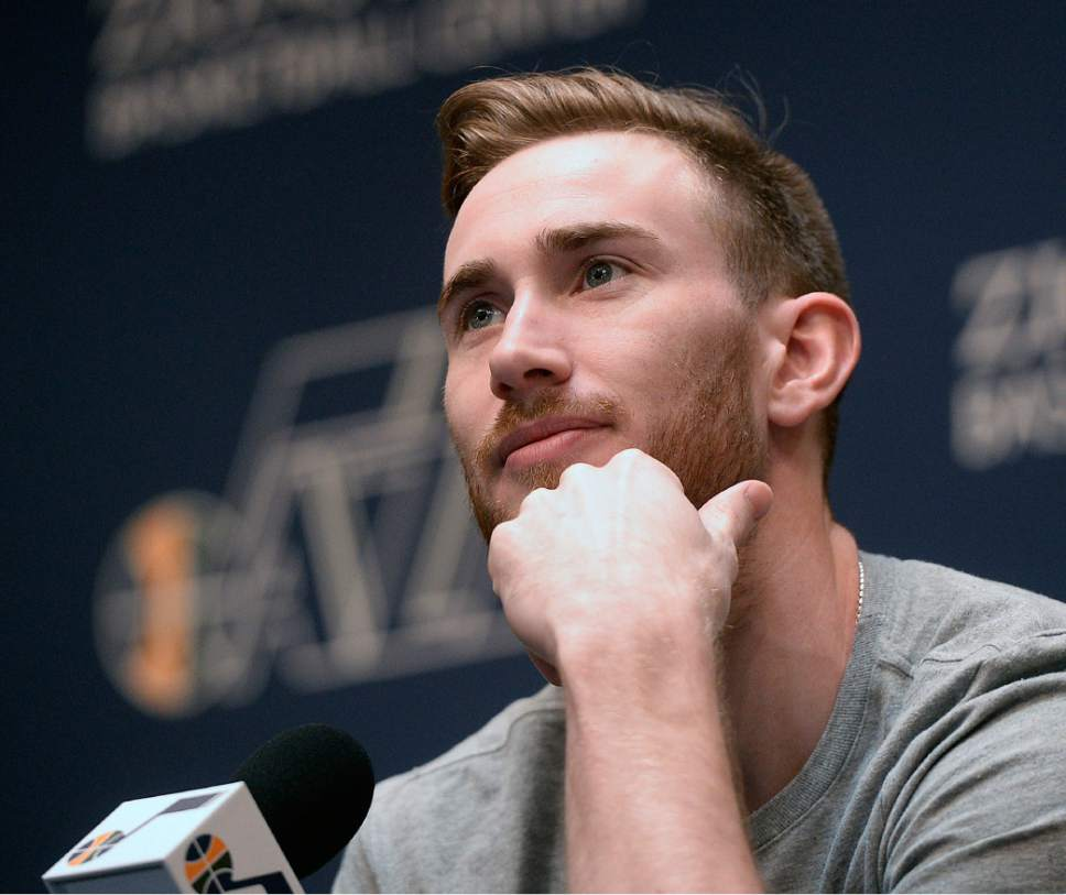 Al Hartmann  |  The Salt Lake Tribune Jazz player Gordon Hayward contemplates an answer on the season in exit interview in front of the sports media in Salt Lake City Tuesday May 9.  The team cleaned out their lockers after their loss to the Golden State Warriors last night.