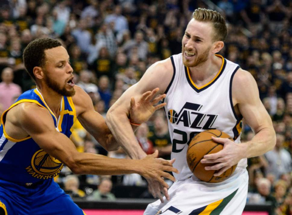 Steve Griffin  |  The Salt Lake Tribune   Utah Jazz forward Gordon Hayward (20) is fouled by Golden State Warriors guard Stephen Curry (30) during game 4 of the NBA playoff game between the Utah Jazz and the Golden State Warriors at Vivint Smart Home Arena in Salt Lake City Monday May 8, 2017.