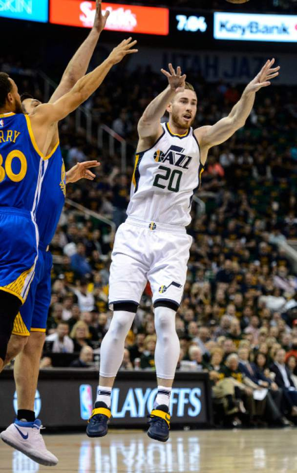 Steve Griffin  |  The Salt Lake Tribune   Utah Jazz forward Gordon Hayward (20) passes the bal during game 4 of the NBA playoff game between the Utah Jazz and the Golden State Warriors at Vivint Smart Home Arena in Salt Lake City Monday May 8, 2017.