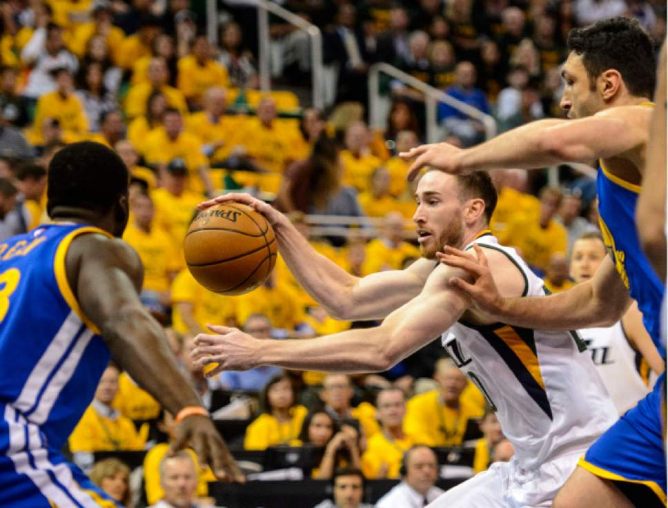Steve Griffin  |  The Salt Lake Tribune   Utah Jazz forward Gordon Hayward (20) drives into the lane during game 4 of the NBA playoff game between the Utah Jazz and the Golden State Warriors at Vivint Smart Home Arena in Salt Lake City Monday May 8, 2017.