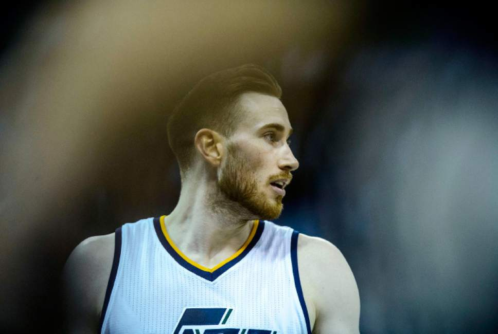 Steve Griffin  |  The Salt Lake Tribune   Utah Jazz forward Gordon Hayward (20) walks off the court after being taken out of the game late in the fourth quarter during game 4 of the NBA playoff game between the Utah Jazz and the Golden State Warriors at Vivint Smart Home Arena in Salt Lake City Monday May 8, 2017.