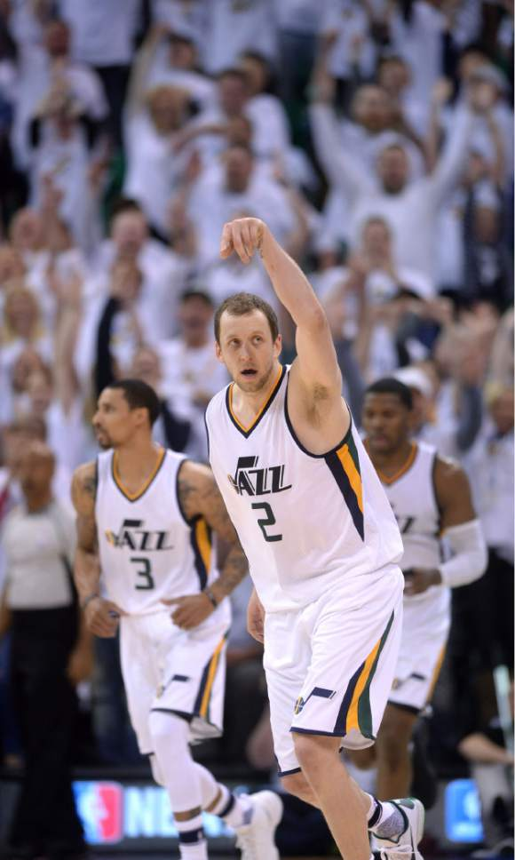 Steve Griffin  |  The Salt Lake Tribune   Utah Jazz forward Joe Ingles (2) holds his arm in the air after nailing a late three pointer during the Jazz versus Clippers NBA playoff game at Viviint Smart Home arena in Salt Lake City Sunday April 23, 2017.