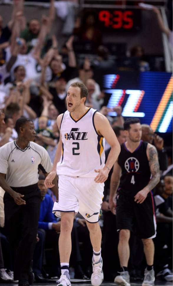 Steve Griffin  |  The Salt Lake Tribune   Utah Jazz forward Joe Ingles (2) screams with excitement after nailing a three pointer late in the game during the Jazz versus Clippers NBA playoff game at Viviint Smart Home arena in Salt Lake City Sunday April 23, 2017.