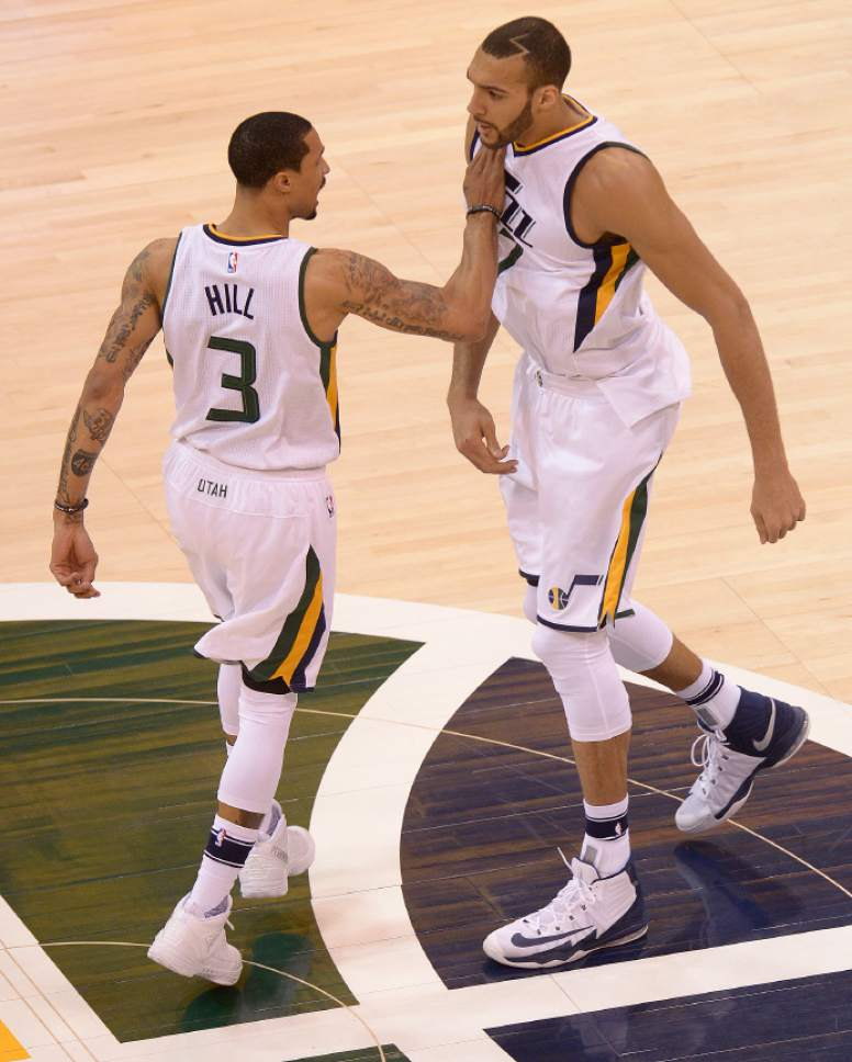 Leah Hogsten  |  The Salt Lake Tribune  Utah Jazz guard George Hill (3) and Utah Jazz center Rudy Gobert (27) celebrate play in the first half. The Utah Jazz trail the Los Angeles Clippers 59-62 in the third quarter during Game 6 at Vivint Smart Home Arena, Friday, April 28, 2017 during the NBA's first-round playoff series.