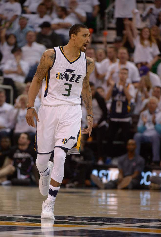 Leah Hogsten  |  The Salt Lake Tribune  Utah Jazz guard George Hill (3) tries to fire up his teammates. The Utah Jazz lead the Los Angeles Clippers after the third quarter during Game 3 of their first-round Western Conference playoff series at Vivint Smart Home Arena, Friday, April 21, 2017.