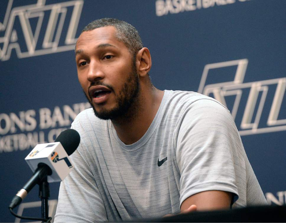 Al Hartmann  |  The Salt Lake Tribune Jazz player Boris Diaw answers question on the season during exit interview with the sports media in Salt Lake City Tuesday May 9.  The team cleaned out their lockers after their loss to the Golden State Warriors last night.