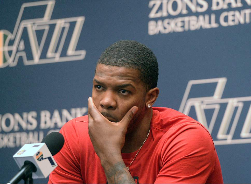 Al Hartmann  |  The Salt Lake Tribune Jazz player Joe Johnson ponders a question on the season during exit interview with the sports media in Salt Lake City Tuesday May 9.  The team cleaned out their lockers after their loss to the Golden State Warriors last night.