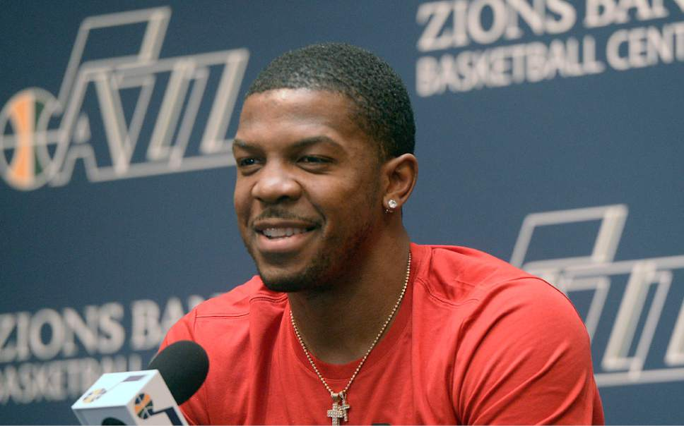 Al Hartmann  |  The Salt Lake Tribune Jazz player Joe Johnson answers question on the season during exit interview with the sports media in Salt Lake City Tuesday May 9.  The team cleaned out their lockers after their loss to the Golden State Warriors last night.
