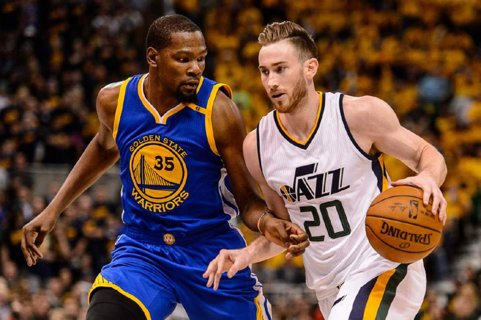 Trent Nelson  |  The Salt Lake Tribune Golden State Warriors forward Kevin Durant (35) defends Utah Jazz forward Gordon Hayward (20) as the Utah Jazz host the Golden State Warriors in Game 3 of the second round, NBA playoff basketball in Salt Lake City, Saturday May 6, 2017.