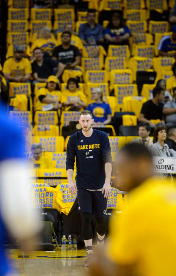 Steve Griffin  |  The Salt Lake Tribune   Utah Jazz forward Gordon Hayward (20) warms-up prior tot he start of NBA playoff game between the Utah Jazz and the Golden State Warriors at Oracle Arena in Oakland Tuesday May 2, 2017.