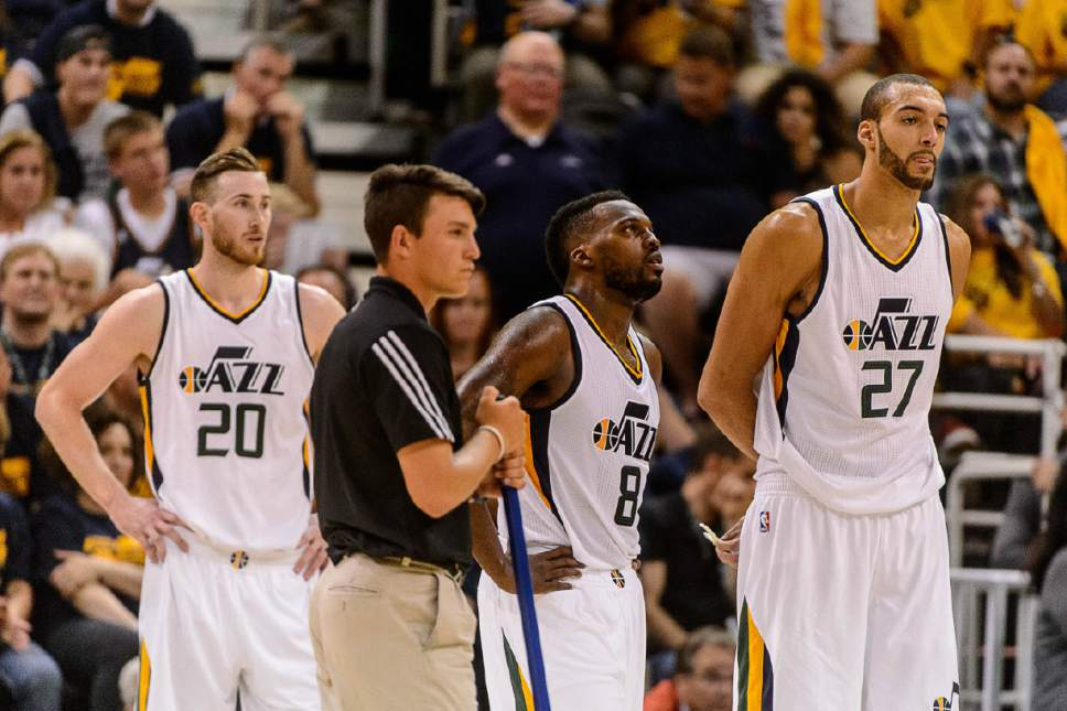 Trent Nelson  |  The Salt Lake Tribune Utah Jazz forward Gordon Hayward (20), Utah Jazz guard Shelvin Mack (8) and Utah Jazz center Rudy Gobert (27) look on in the final minute, down ten points as the Utah Jazz host the Golden State Warriors in Game 3 of the second round, NBA playoff basketball in Salt Lake City, Saturday May 6, 2017.