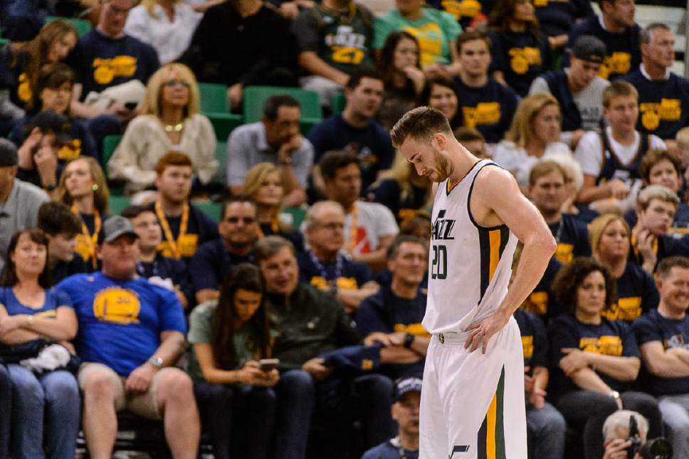 Trent Nelson  |  The Salt Lake Tribune Utah Jazz forward Gordon Hayward (20) on the court in the final minute, as the Utah Jazz host the Golden State Warriors in Game 3 of the second round, NBA playoff basketball in Salt Lake City, Saturday May 6, 2017.