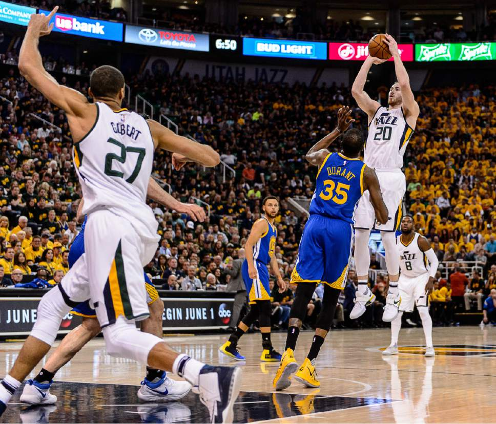 Trent Nelson  |  The Salt Lake Tribune Utah Jazz forward Gordon Hayward (20) shoots as the Utah Jazz host the Golden State Warriors in Game 3 of the second round, NBA playoff basketball in Salt Lake City, Saturday May 6, 2017.