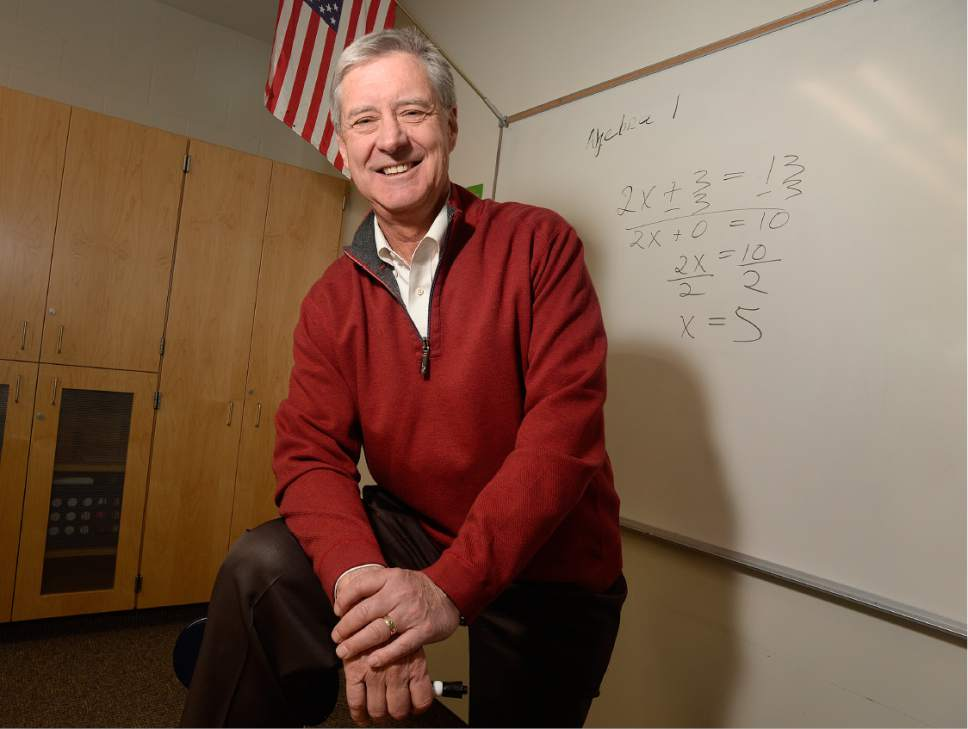 Scott Sommerdorf   |  The Salt Lake Tribune   University of Utah athletic director Chris Hill poses in a math classroom, Thursday, February 9, 2017, with an equation like the ones he taught during his time there as a teacher. Early in his career, Hill spent four years at Granger High as a math teacher and basketball coach.