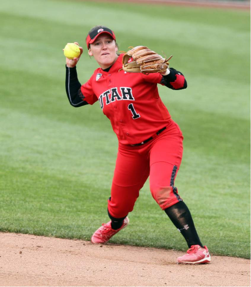 Steve C. Wilson  |  Utah athletics  Senior Hannah Flippen turns a play during a game earlier this year for Utah softball. Flippen is a three-time all-conference honoree at second base for Utah, and is looking to win a possible second consecutive Pac-12 player of the year honor.